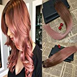 Best rose gold hair extensions reviews 6 18 slik straight 100 human hair weft rose gold balayage real remy hair pmusecretfo Choice Image