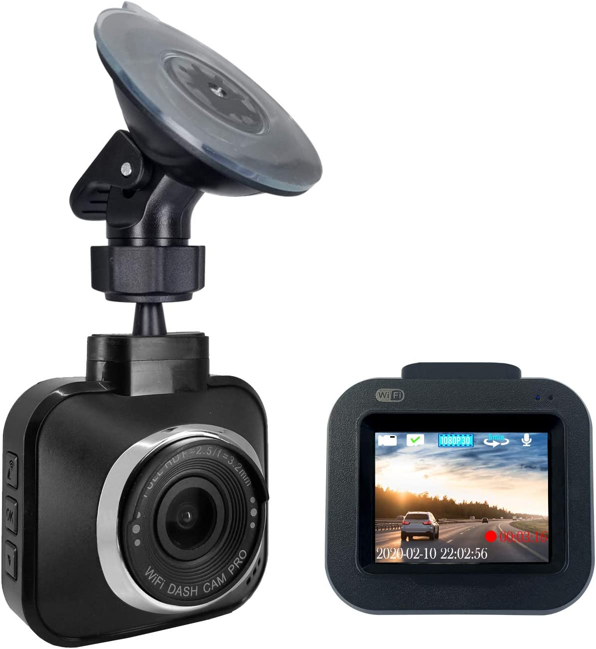 """Dash Cam Pro Wi-Fi - As Seen on TV Dash Cam 360°, Motion Detection, 2.0"""" LCD, 1080p HD, Dashboard Camera Video Recorder, Loop Recording, Night-Mode"""