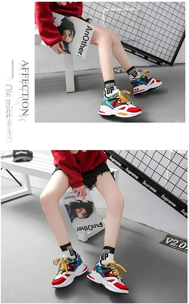 Womens Fashion Vintage Dad Sneakers Lace Up Round Toe Chunky Platform Sport Athletic Walking Shoes