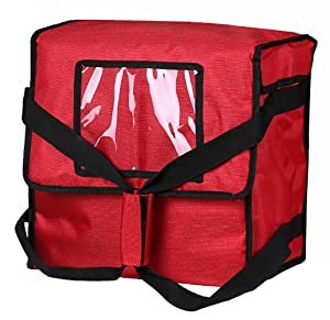"""Polyester Insulated Pizza/Food Delivery Bag 14""""×14""""×8"""" for Four 12"""" Pizza Boxes(Red) …"""