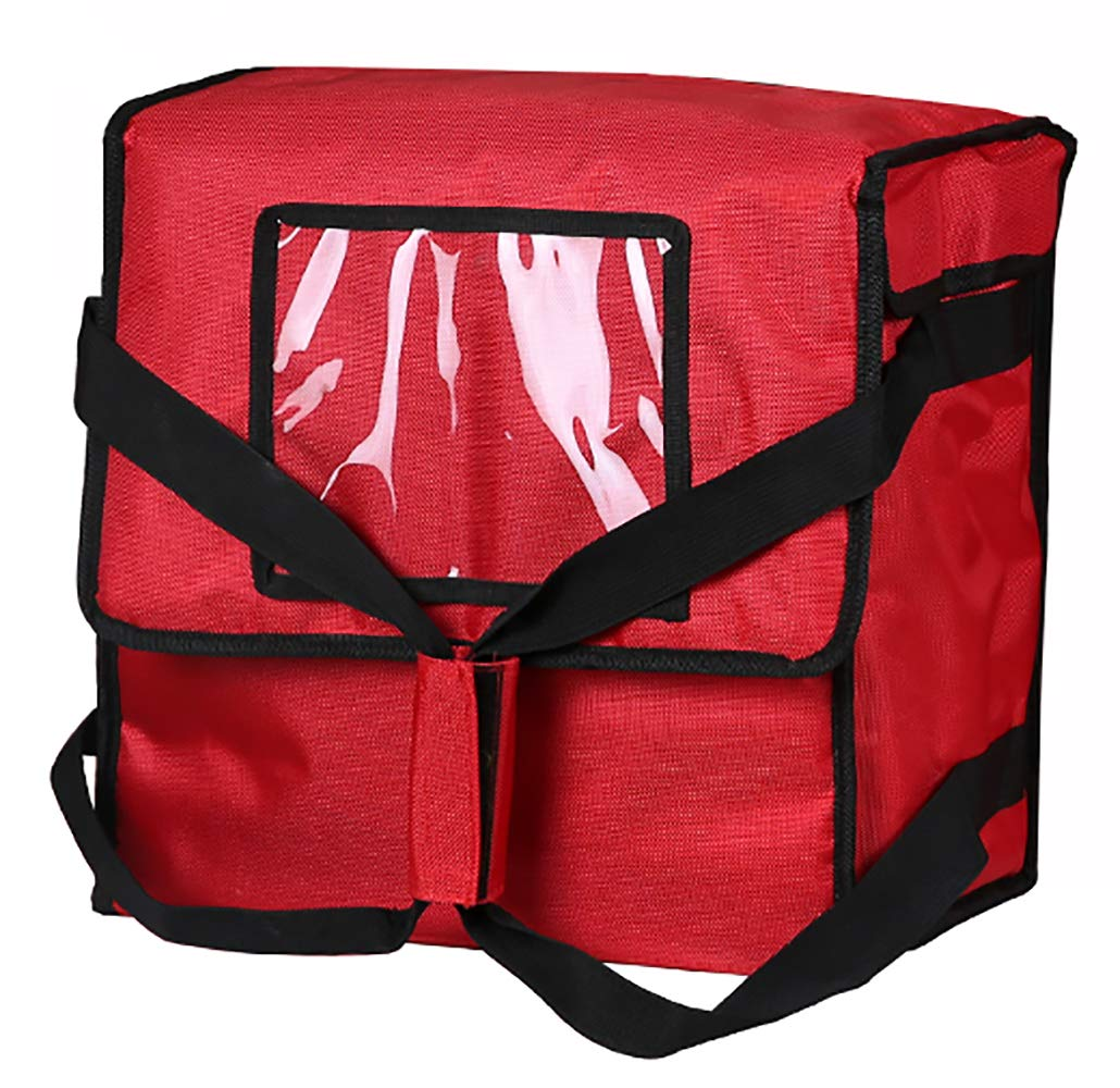 Polyester Insulated Pizza/Food Delivery Bag Professional Pizza Delivery Bag 14''×14''×8'' for Four 12'' Pizza Boxes(Red)