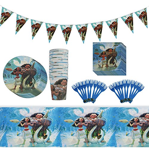 Moana Birthday Party Supplies 82 Items- Party Bundle Decorations For 20 - Dollar Maui