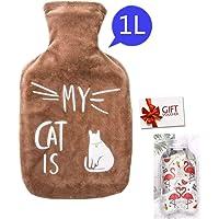 Bolsa de Agua Caliente con Funda 1L Hot Water Bag Bottle Goma Natural Peluche Super Suave Diseño Calor y Confort para Bebés Niños Novia