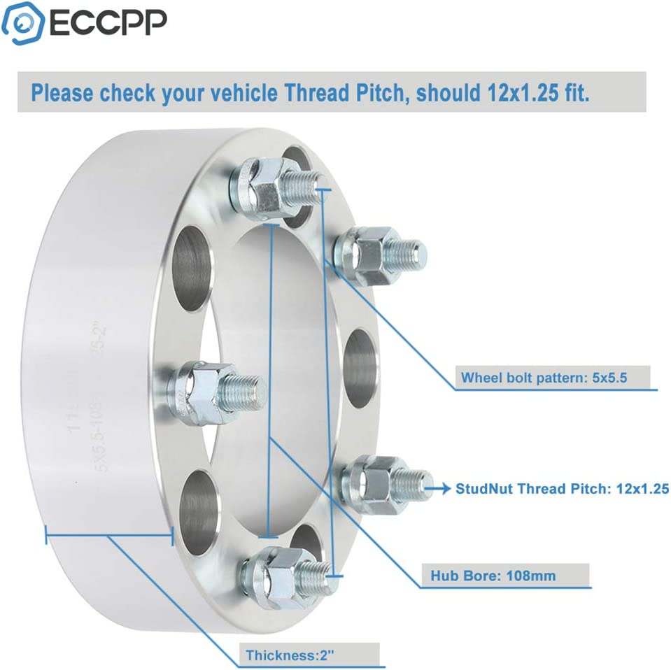 ECCPP 5 lug 5x139.7 Wheel Spacers 5x5.5 to 5x5.5 12x1.25 108 2 silver Compatible with 1998-2004 Chevrolet Tracker 2002-2006 Suzuki XL-7