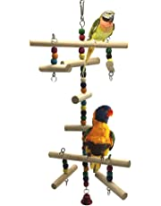 Wood Climbing Ladder Toy for Bird Parrot Budgies Parakeet Cockatiel Conure Love Birds Finch African Grey Macaw Amazon Cage Perch