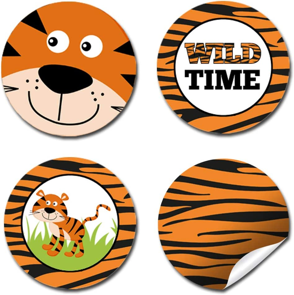 "Great for Party Favors Envelope Seals /& Goodie Bags Wild Time Tiger Print Birthday Party Kiss Sticker Labels 300 Party Circle Sticker sized 0.75/"" for Chocolate Drop Kisses by AmandaCreation"
