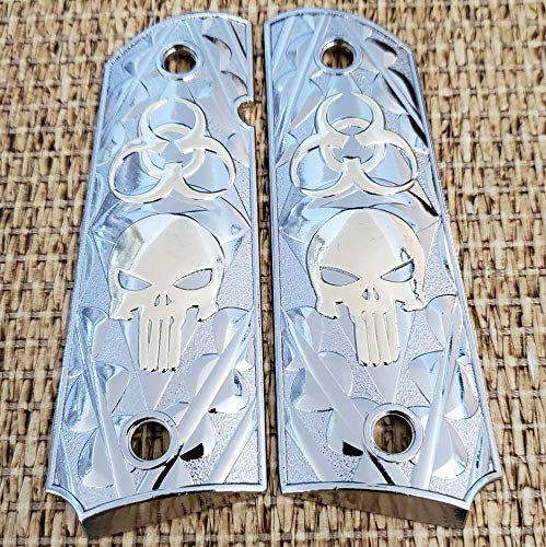 (Tek_Tactical 1911 Grips Nickel Plated Grips 1911 Full Size Grips Punisher 1911 Grips Ambi Safety Cut Grips)