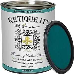Retique It Chalk Finish Paint by Renaissance - Non Toxic, Eco-Friendly Chalk Furniture & Cabinet Paint - 32 oz (Quart), Camelot Blue