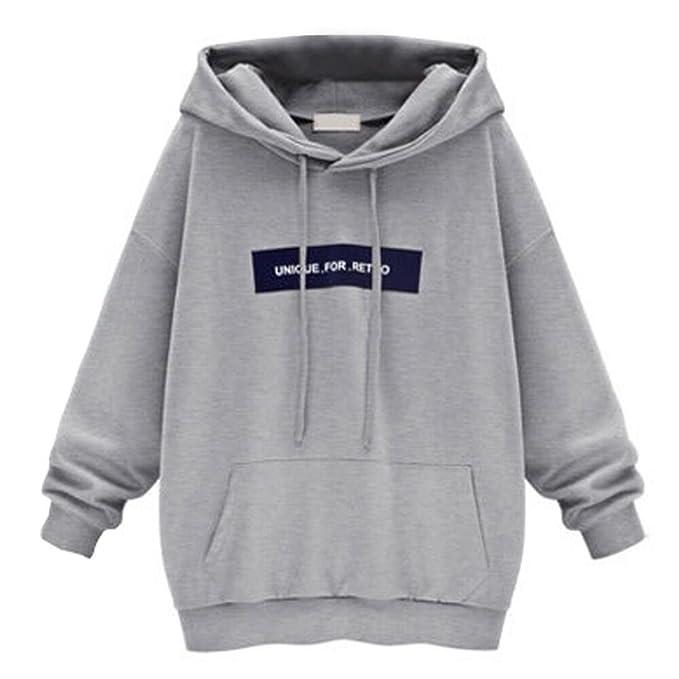 dac670de254c36 Xinan Kapuzenpullover Damen Langarm Sweatshirt Pullover Jumper Hooded Lange  Bluse (S, Grau)