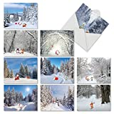 M6716XSG Santa Paths: 10 Assorted Christmas Note Cards Featuring Cartoon Santa And Reindeer Frolicking Down Winter Paths, w/White Envelopes.