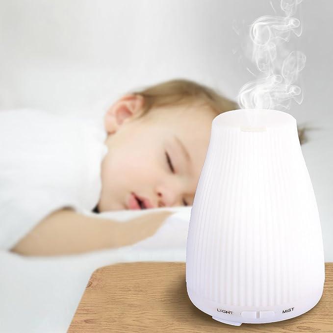 Difusor de Aceites Esenciales, BAXiA 100ml Aroma Difusor Ultrasónico Aromaterapia Humidificador Ultrasónico Aromaterapia Ambientador [8-Color LED] ...