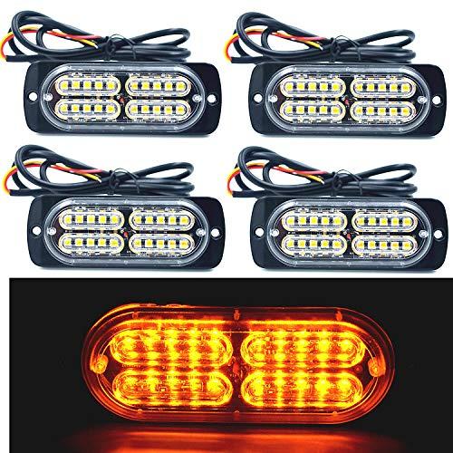 12-24V 20-LED Super Bright Emergency Warning Caution Hazard Construction Waterproof Amber Strobe Light Bar with 16 Different Flashing for Car Truck SUV Van - 4PCS (Amber)