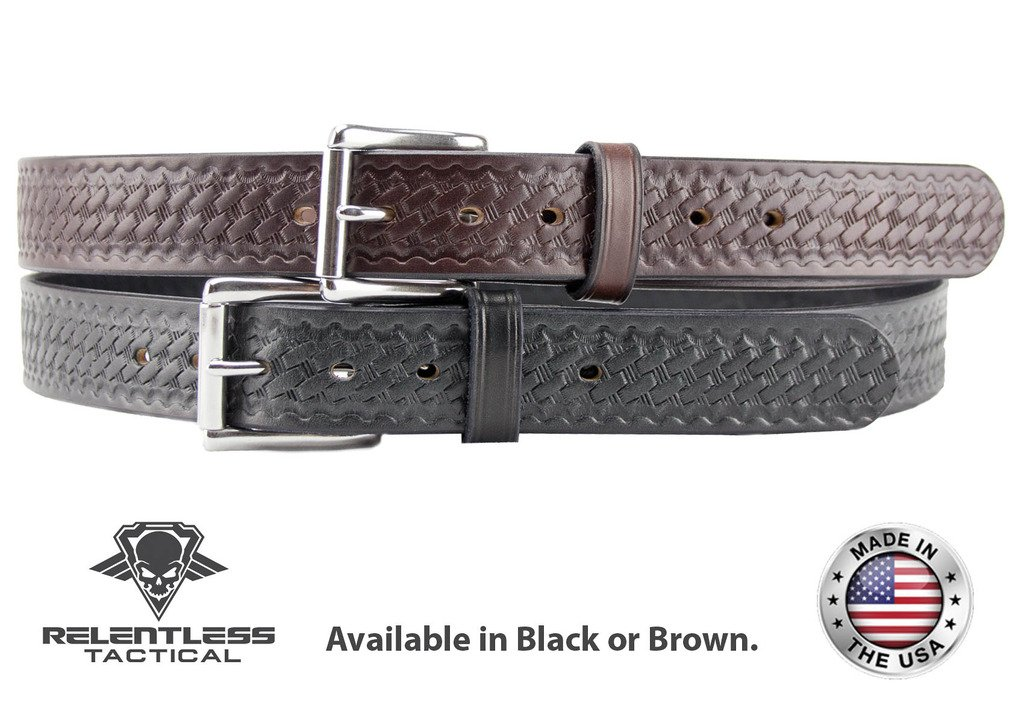 Relentless Tactical The Ultimate Concealed Carry CCW Leather Gun Belt - Basket Weave Pattern -1 1/2 inch Premium Full Grain Leather Belt - Handmade in The USA! Black Size 34 by Relentless Tactical (Image #5)