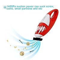 Fine Dragon batería Aspiradora Aspiradora de mano Auto Aspiradora Mini succión sin bolsa aspirador de mano fuerte (dispone de 1400PA) 25min Tiempo de trabajo rojo