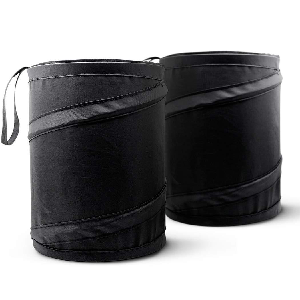 Car Trash Can, Portable Garbage Bin, Collapsible Pop-up Water Proof Bag, Waste Basket Bin, Rubbish Bin (2 Pack, Black)