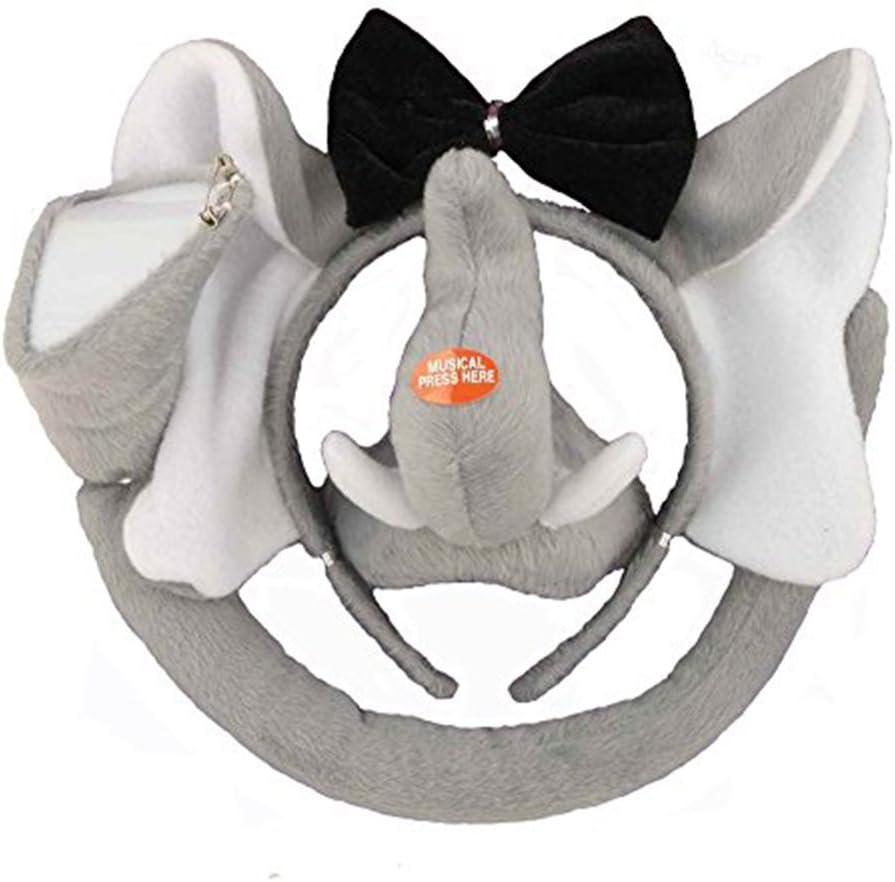 Elephant Animal Set Kit Jungle Headband Ears Bow Tie Tail Costume Child Adults