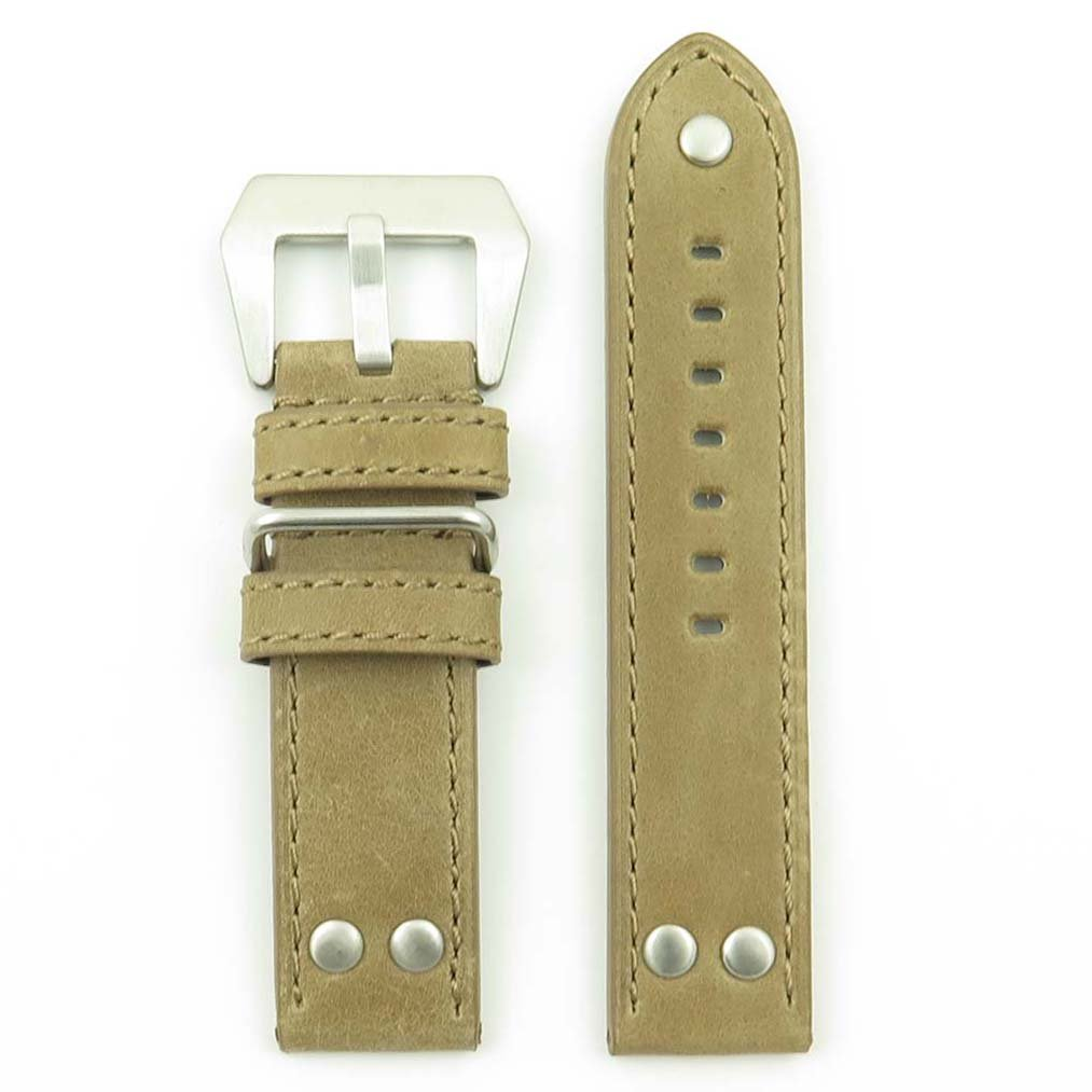 DASSARI Liberty Genuine Leather Vintage Style Watch Band with Rivets