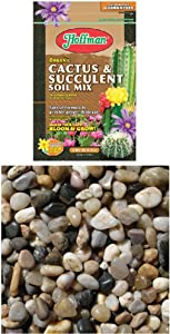 Hoffman 10404 Organic Cactus and Succulent Soil Mix, 4 Quarts WITH Exotic PMS0510 Polished Gravel, Mixed, 5 Pounds, 3/8-Inch