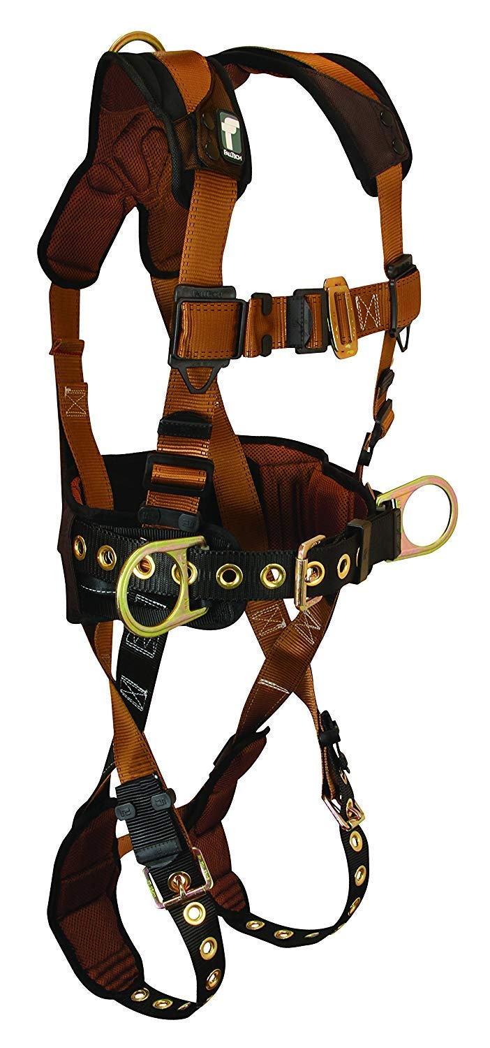 FallTech 7081SM ComforTech Belted Construction Full Body Harness with 3 D-Rings, Waist Pad, Tongue Buckle Legs and Mating Buckle Chest, Brown/Black, Small/Medium by FallTech