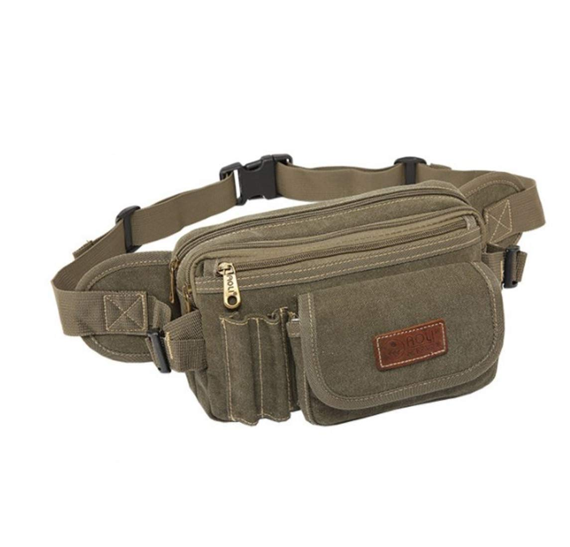 Color : ArmyGreen RABILTY Belt Holster Bag Fanny Waist Pack Crossbody Bag for Men Boy Khaki Canvas Travel Money Belt RFID Blocking