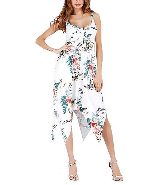 Vestido Playa Mujer Verano Elegantes Sin Mangas Hombro Descubierto Classic Chic Casual Vintage Hippies Boho Flores