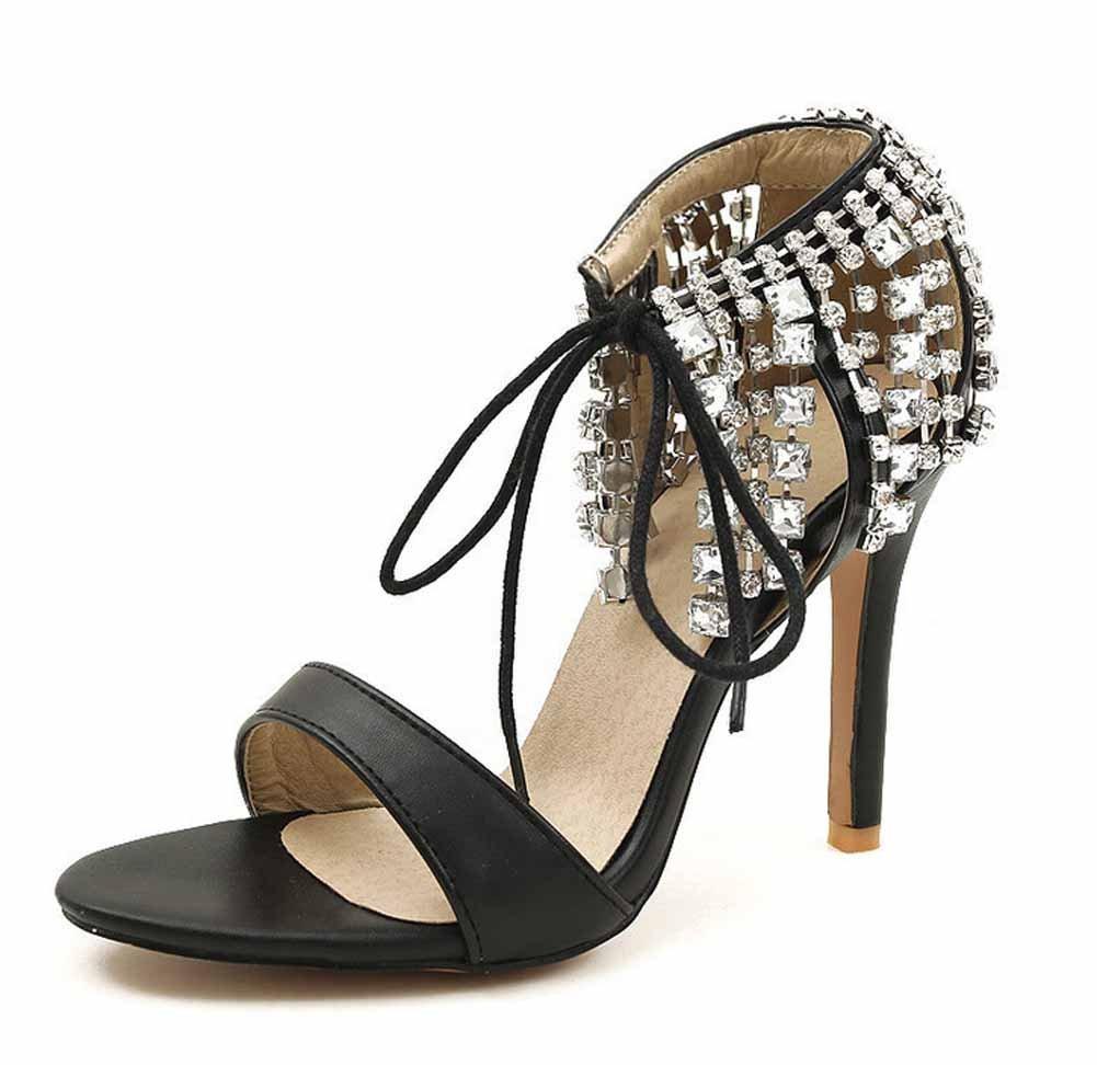 Frauen Strass Quaste Pumps Lackleder Offene Spitze Hochzeit Schuhe Knöchelriemen Sandalen Große Größe 40-43