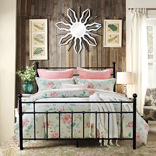 Metal Bed Platform Frame Box Spring Replacement Foundation with Headboards & Hevay Duty Steel Slats, Full