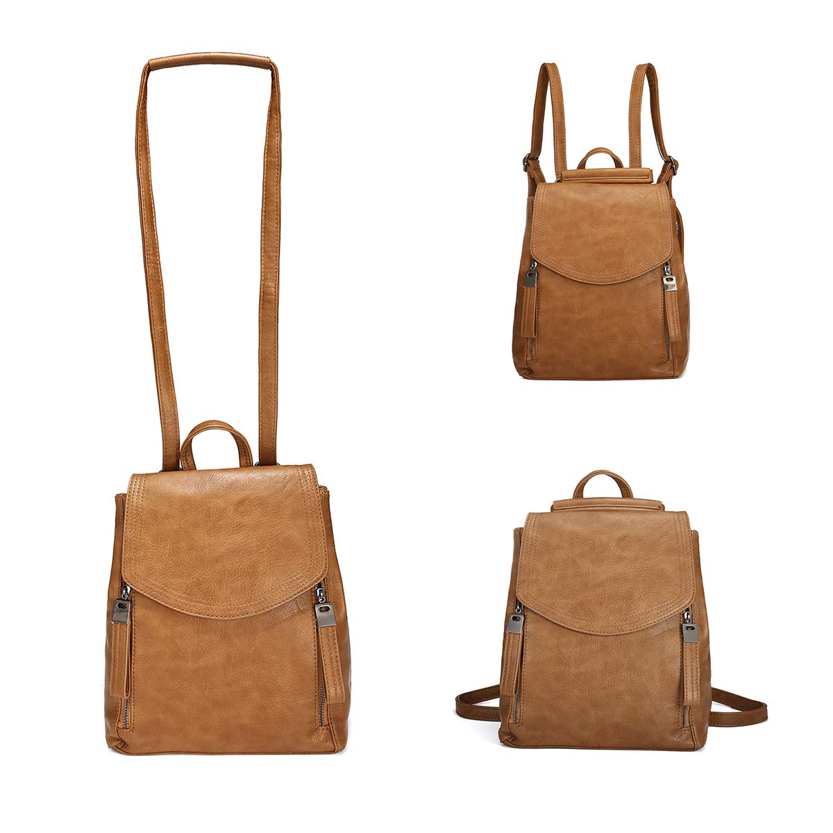Women Backpack, JOSEKO Leather Flap Backpack Purse Casual Daypack for Ladies College Girls with Adjustable Straps Brown 9.4''x5.1''x11.4'' by JOSEKO