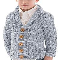 Hestenve Baby Girls Boys Button Cardigan Knit Sweater Hooded Outwear Winter Warm Toddler Kids Cloth