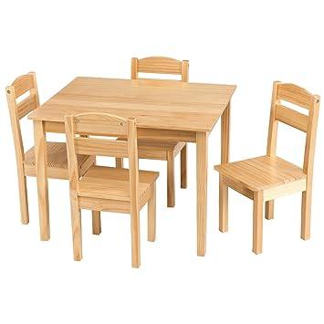 Amazon Com Kchex Kids 5 Piece Table Chair Set Pine Wood