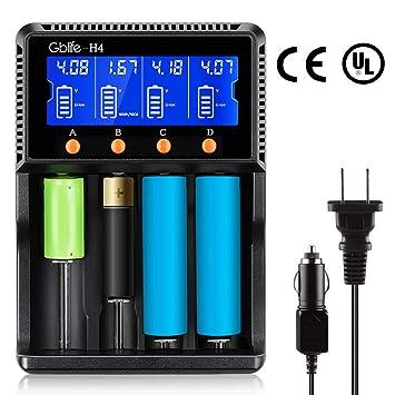 Cargador para Pilas Recargables con Pantalla LCD 4 Ranuras Inteligente Cargador de Baterías para Lithium AA AAA Recargables Baterias: Amazon.es: Electrónica