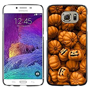 iKiki Tech / Estuche rígido - Orange Pumpkin Evil Holiday - Samsung Galaxy S6 SM-G920