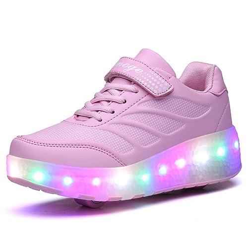 aimoge Unisex Skate Guantes Guantes con Ruedas monopatín Niños Chica Joven LED se Ilumina Suela Color Sport Zapatillas Deportivas con una Rueda, ...