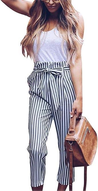 Shallgood Mujer Pantalones Clasicos Rayas Pantalones Verano Cintura Alta Casual Moda Pantalones De Halon Rayados Verticales Amazon Es Ropa Y Accesorios