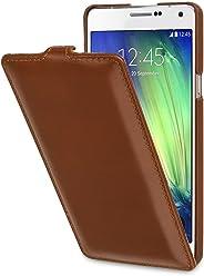 StilGut UltraSlim, Housse Samsung Galaxy A7 (2015) en Cuir. Etui de Protection à Ouverture Verticale et à Fermeture clipsée en Cuir véritable, Cognac