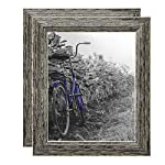 Americanflat 2 Pack - Rustic Picture Frames with Easels - Made for Wall and Tabletop Display