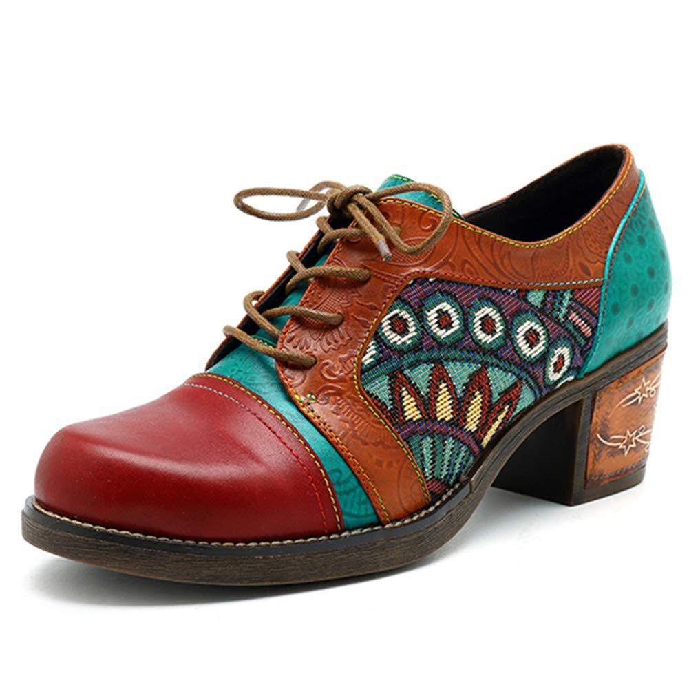 Frauen Vintage BöHmischen Stiefeletten Lace-Up Block Heels Totem Patchwork Kuh Leder Oxford Wedges Schuhe