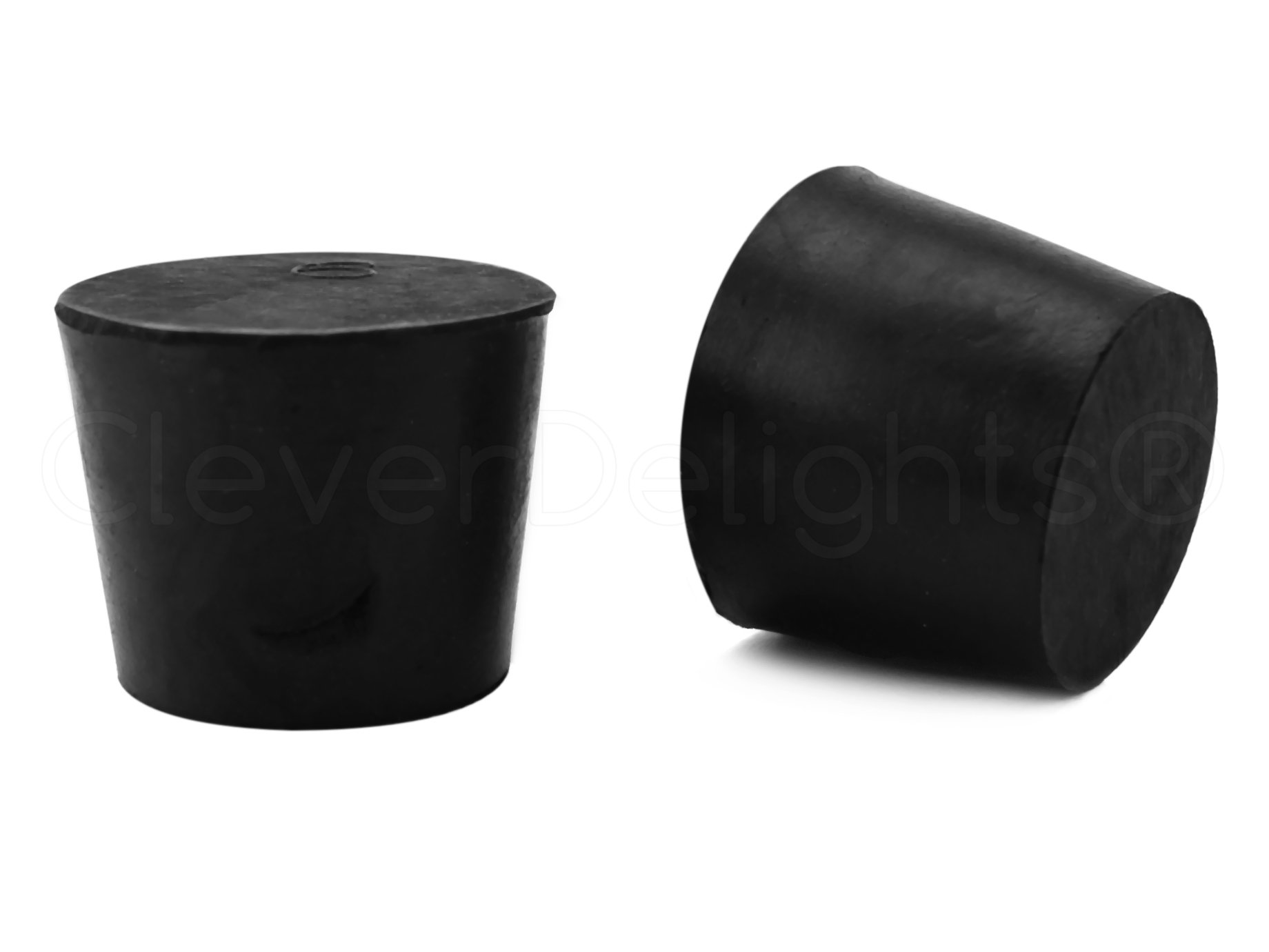 6 Pack - CleverDelights Solid Rubber Stoppers - Size 6 - 33mm x 25mm - 28mm Long - Black Lab Bung Plug #6