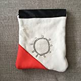 Handmade Saami Reindeer Leather Pewter Coin Purse Sami Sun Design