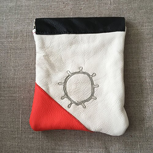 Handmade Saami Reindeer Leather Pewter Coin Purse Sami Sun Design by Paivatar Yarns US
