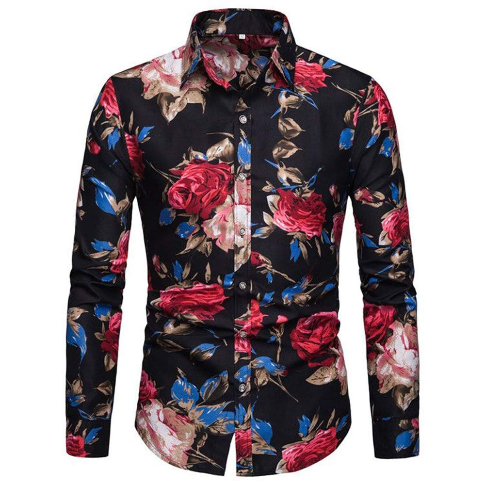 Xiloccer Men Printing Buttons Stand Collar Collar Fit Slim Long Sleeve Shirt Tee Blouse