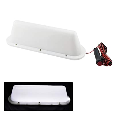 WHITE LED 12V Car Taxi Cab Roof Top Sign Light Lamp Magnetic with 3m Cigarette lighter power cords: Automotive