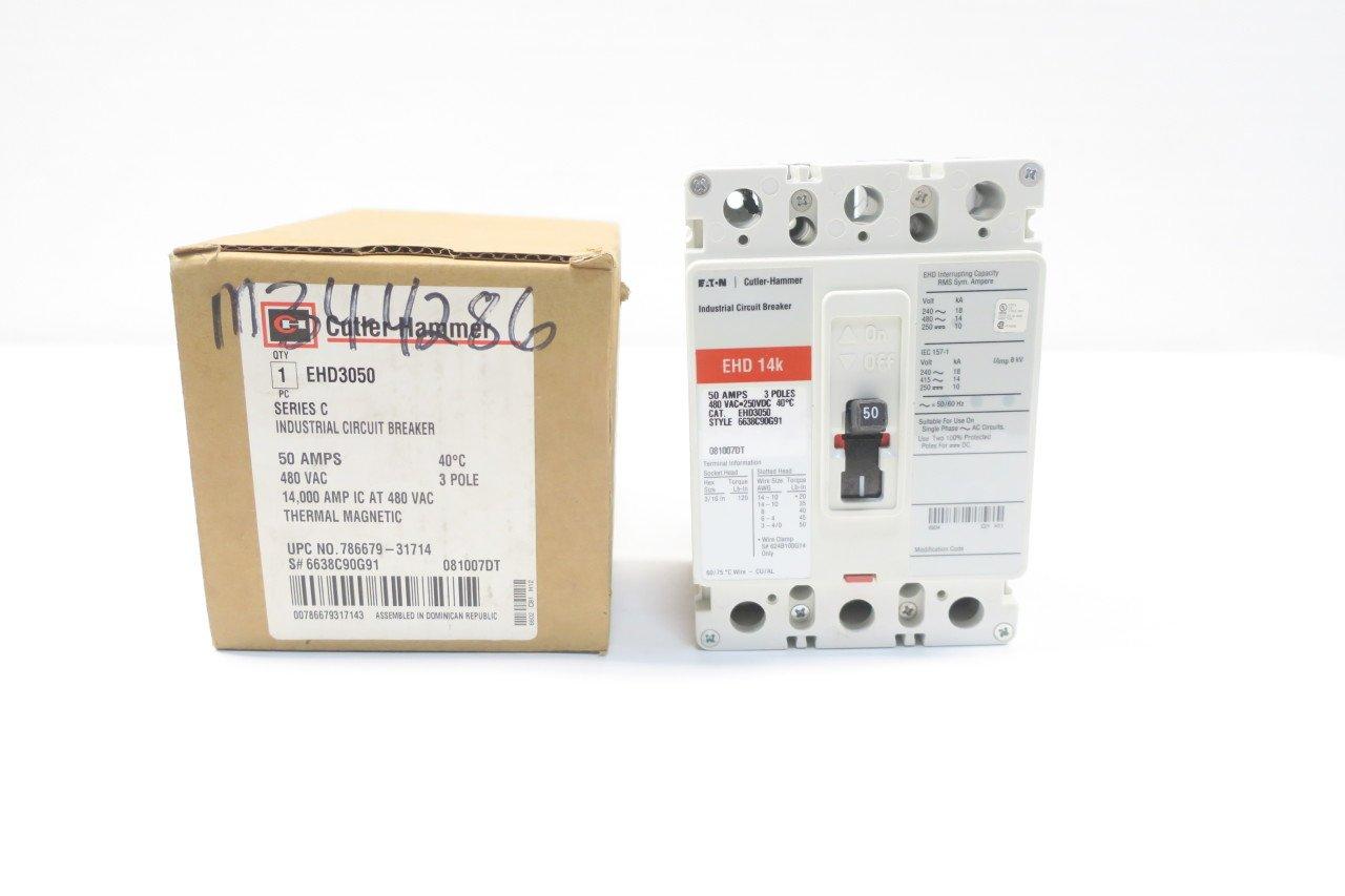 NEW CUTLER HAMMER EHD3050 MOLDED CASE CIRCUIT BREAKER 50A 3P 480V-AC D587292