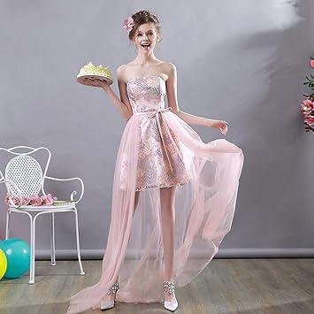 YT-RE Vestido Largo de Novia Largo Vestido de Novia de Organza Rosa Vestido de