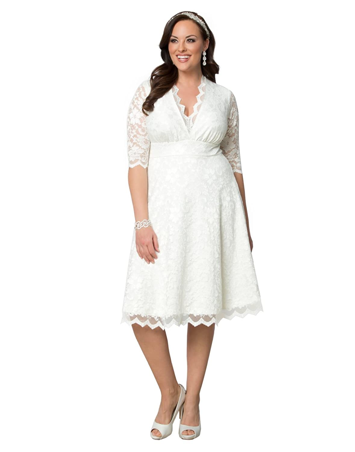 1940s Style Dresses and Clothing Kiyonna Womens Plus Size Wedding Belle Dress $248.00 AT vintagedancer.com