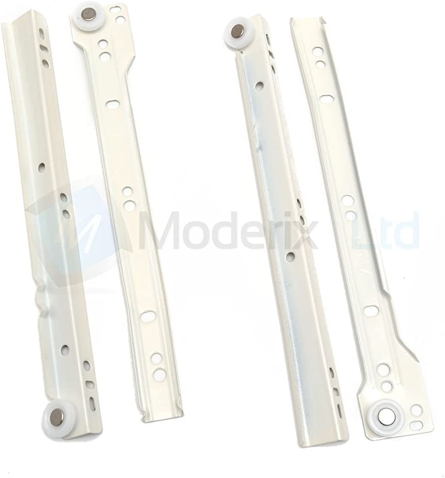 Runners Bottom Fix Metal White Size 450mm by GTV Roller Drawer Slides