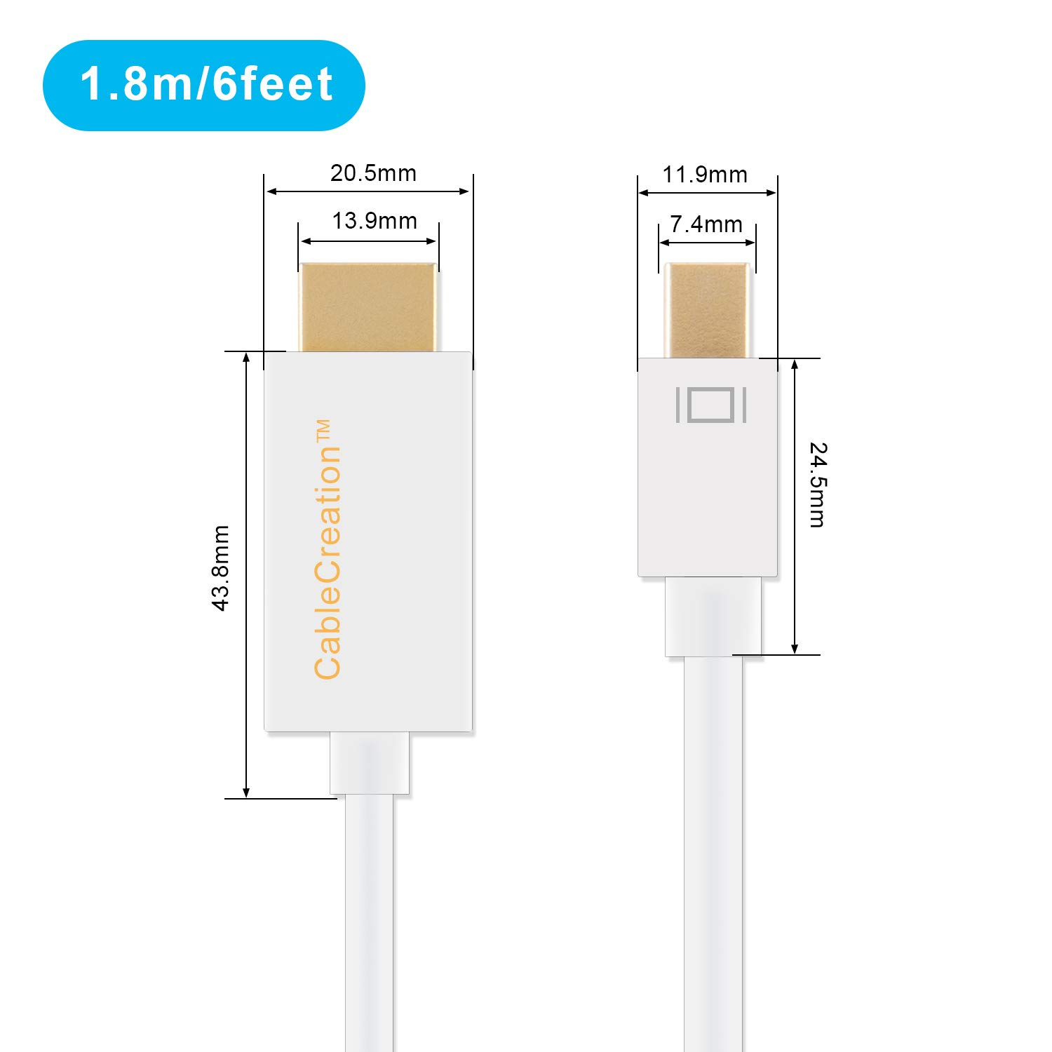 Imac 15ft DP v1.2 Support 1080P Black Color 15ft//4.5M Mac Book Pro /& More Mac Book Air Long Gold Mini Displayport Cablecreation to HDMI AV HDTV Cable for Mac Book Thunderbolt Port Compatible