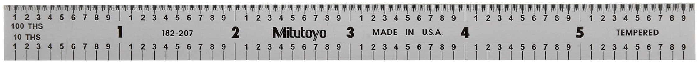 Mitutoyo 182-207, Steel Rule, 6'' X 150mm, (1/10, 1/100'', 1mm, 1/2mm), 1/64'' Thick X 1/2'' Wide, Satin Chrome Finish Tempered Stainless Steel by Mitutoyo