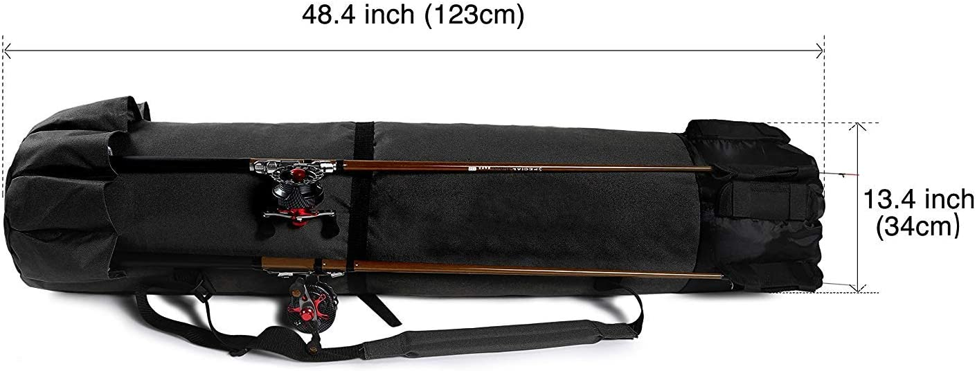 Kxuhivc Fishing Rod Case Large Fishing Poles and Reel Organizer Portable Travel Carry Case Bag Durable Folding Fishing Gear and Rod Holders for Rods Storage