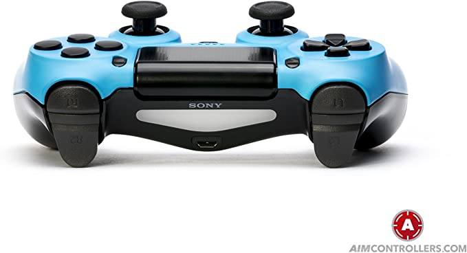 PS4 Slim DualShock 4 PlayStation 4 Wireless Controller - Custom AimController Blue Matt with 4 Paddles. Upper Left Square, Lower Left X, Upper Right Triangle, Lower ...